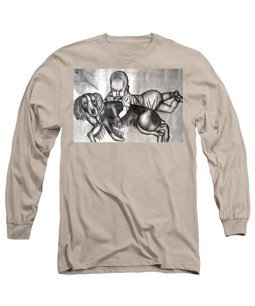 Baby And Dog Long Sleeve T-Shirt by Angela Murray