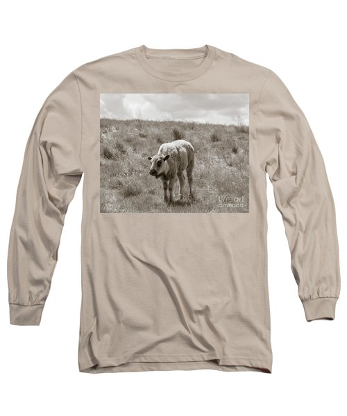 Long Sleeve T-Shirt featuring the photograph Baby Buffalo In Field With Sky by Rebecca Margraf