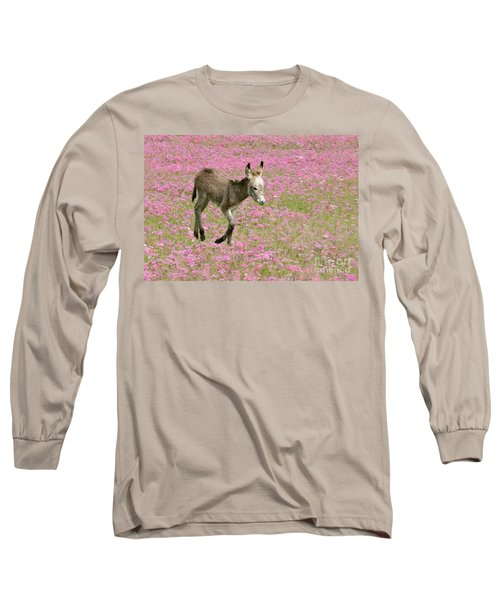 Baby Donkey In The Flowers Long Sleeve T-Shirt by Myrna Bradshaw