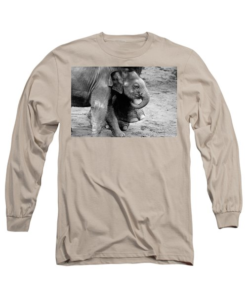 Baby Elephant Security Long Sleeve T-Shirt by Wes and Dotty Weber