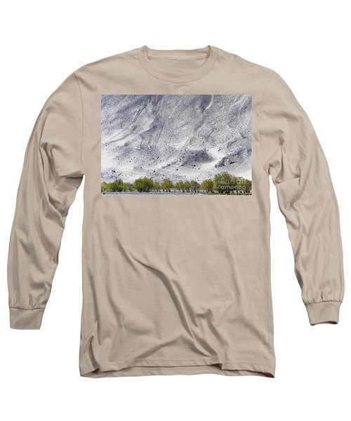 Long Sleeve T-Shirt featuring the photograph Backdrop Of Sand, Chumathang, 2006 by Hitendra SINKAR