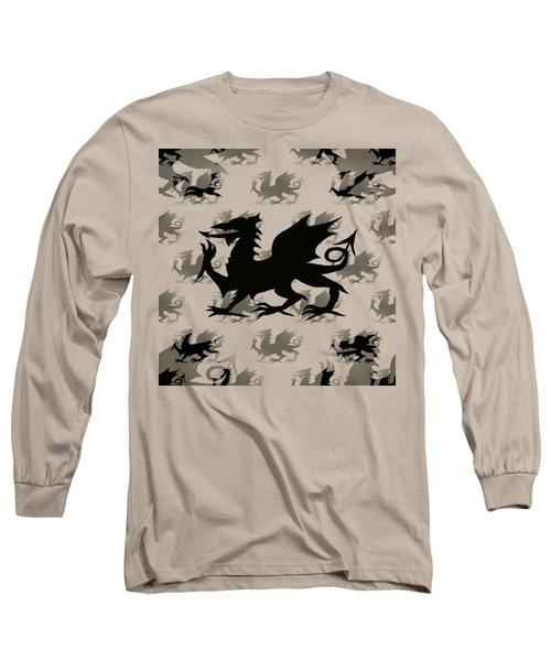 Background Choice Welsh Dragon Black Long Sleeve T-Shirt