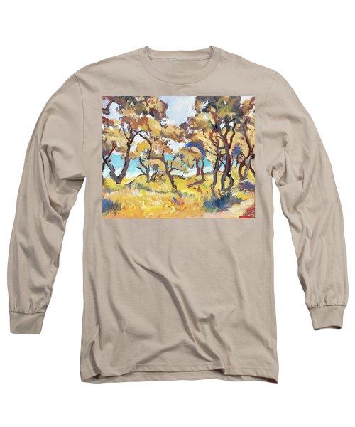 Backlight Olive Trees Marmari Beach Long Sleeve T-Shirt