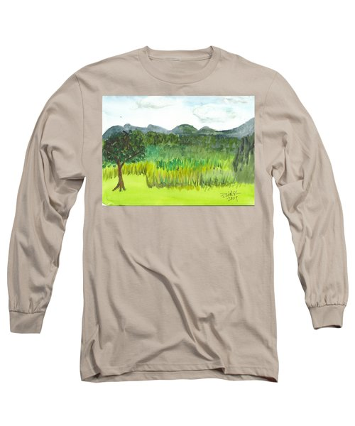 Long Sleeve T-Shirt featuring the painting Backyard In Barton by Donna Walsh
