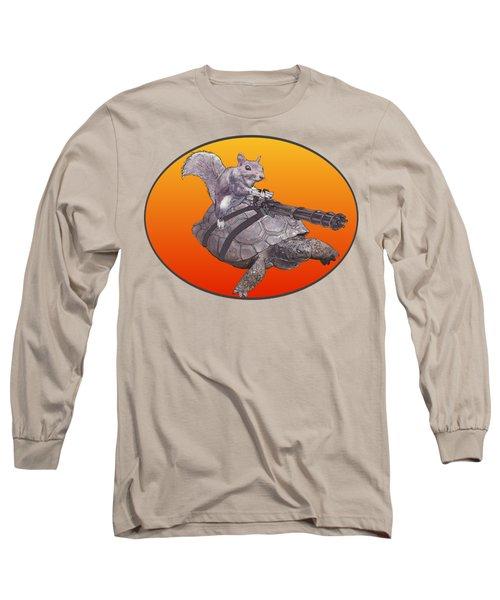 Backyard Modern Warfare Crazy Squirrel Long Sleeve T-Shirt by David Mckinney