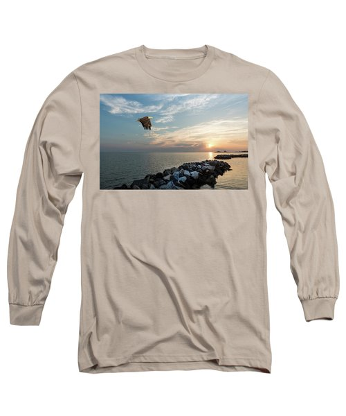 Bald Eagle Flying Over A Jetty At Sunset Long Sleeve T-Shirt
