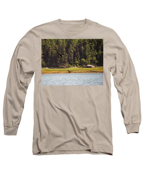 Bald Eagle In Flight Long Sleeve T-Shirt by Trace Kittrell