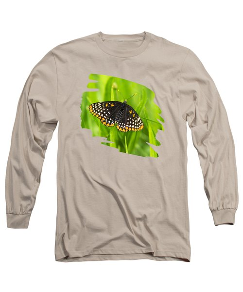 Baltimore Checkerspot Butterfly Long Sleeve T-Shirt by Christina Rollo