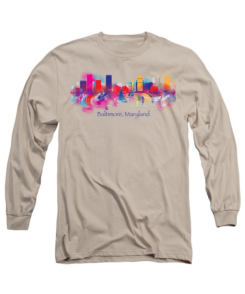Baltimore Maryland Skyline For T-shirts And Accessories Long Sleeve T-Shirt by Loretta Luglio