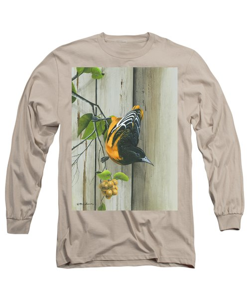 Long Sleeve T-Shirt featuring the painting Baltimore Oriole by Mike Brown