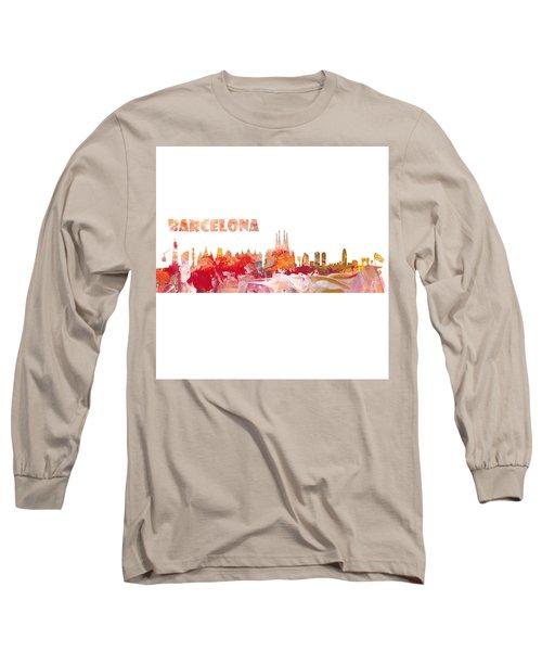 Barcelona Skyline In Clean Scissor Cut Style Long Sleeve T-Shirt