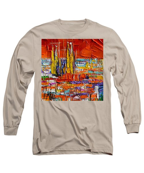 Barcelona Sagrada Familia View From Parc Guell Abstract Palette Knife Oil Painting Long Sleeve T-Shirt