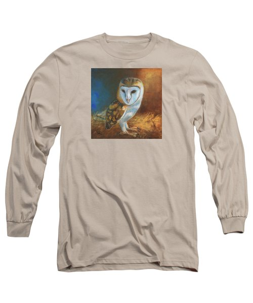 Long Sleeve T-Shirt featuring the painting Barn Owl Blue by Terry Webb Harshman