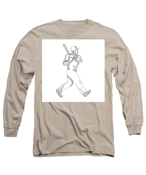 Baseball Player Batting Doodle Long Sleeve T-Shirt