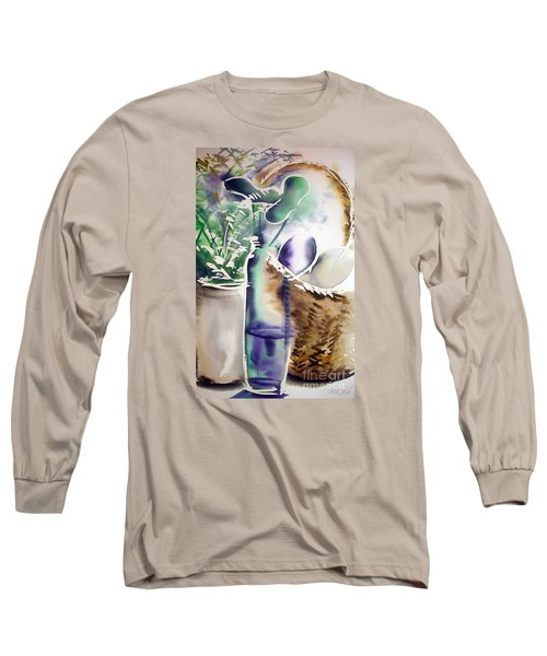 Long Sleeve T-Shirt featuring the painting Basket And Bottle by Allison Ashton