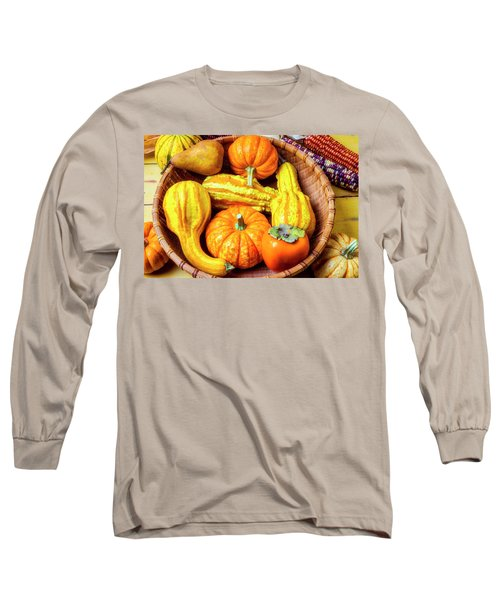 Basket Of Autumn Gourds And Fruits Long Sleeve T-Shirt