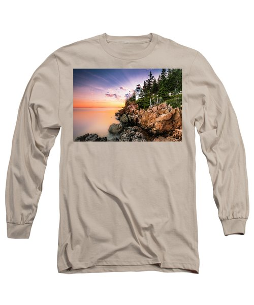 Bass Harbor Lighthouse Sunset Long Sleeve T-Shirt by Ranjay Mitra