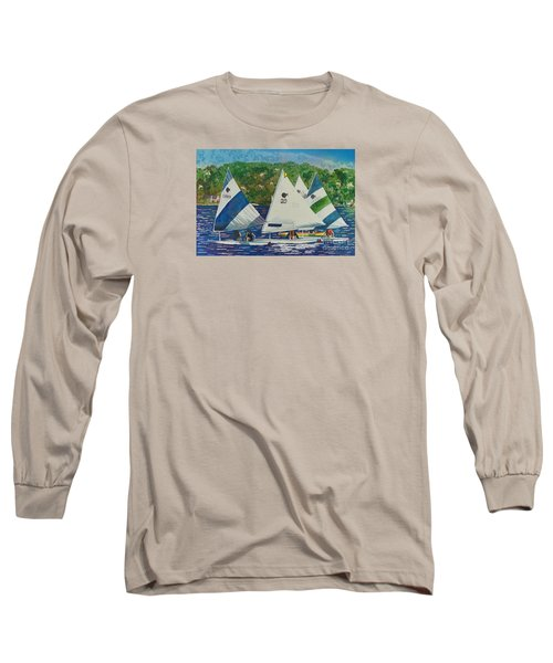 Long Sleeve T-Shirt featuring the painting Bass Lake Races  by LeAnne Sowa