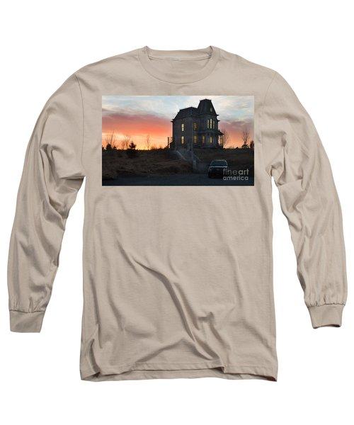 Bates Motel At Night Long Sleeve T-Shirt by Jim  Hatch