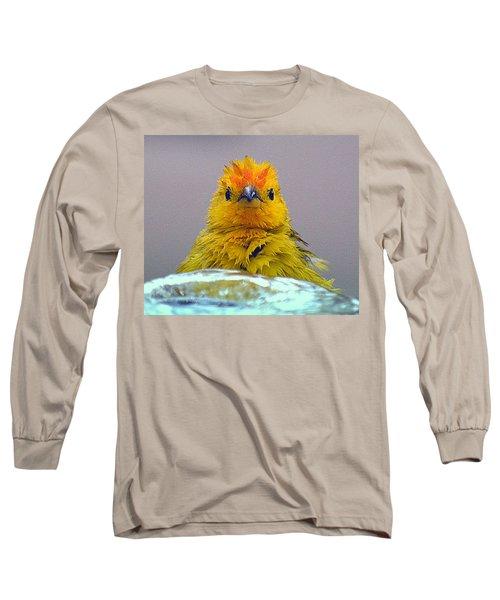 Long Sleeve T-Shirt featuring the photograph Bath Time Finch by Lori Seaman