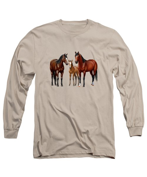 Bay Horses In Winter Pasture Long Sleeve T-Shirt