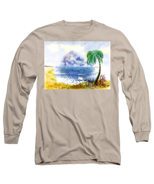 Beach And Palm Tree Of D.r.  Long Sleeve T-Shirt