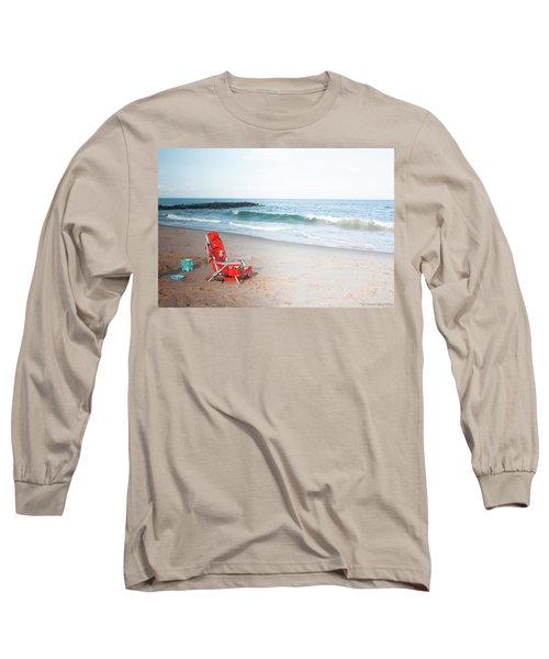 Beach Chair By The Sea Long Sleeve T-Shirt by Ann Murphy