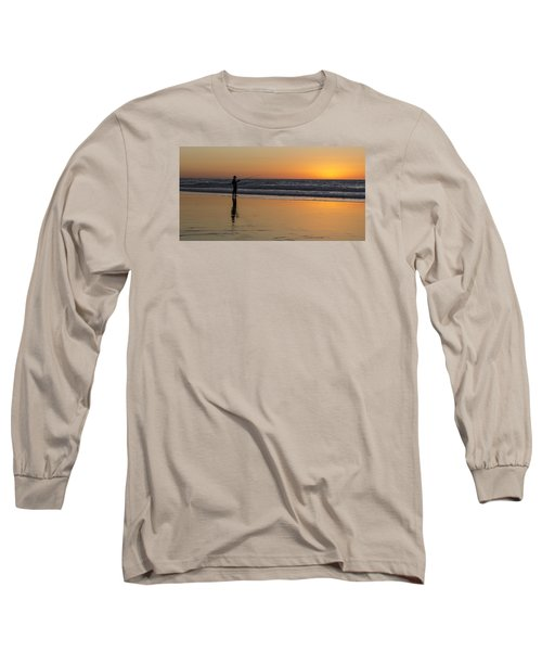 Beach Fishing At Sunset Long Sleeve T-Shirt by Ed Clark