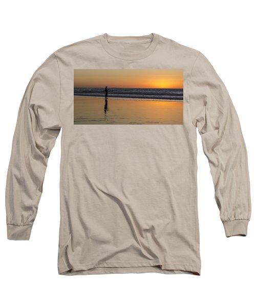 Beach Fishing At Sunset Long Sleeve T-Shirt
