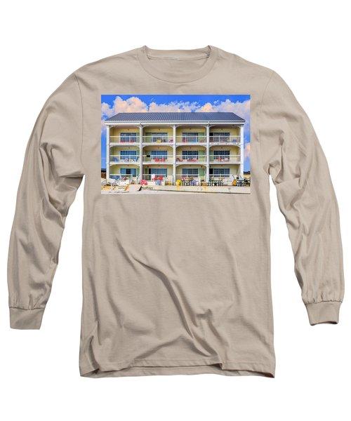 Beach Front Hotel Long Sleeve T-Shirt by Robert FERD Frank