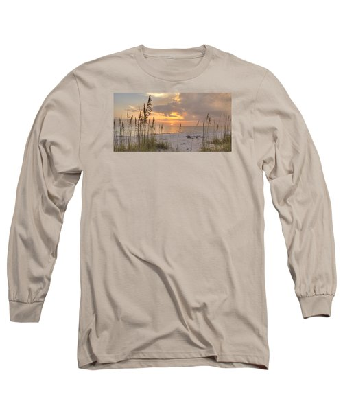 Beach Grass Sunset Long Sleeve T-Shirt by Sean Allen