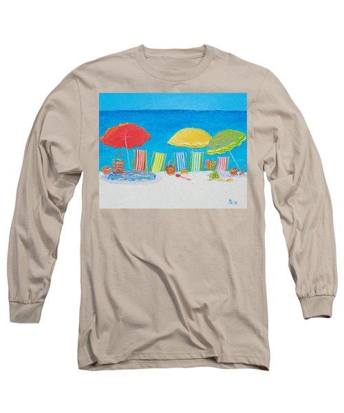 Beach Painting - Deck Chairs Long Sleeve T-Shirt by Jan Matson