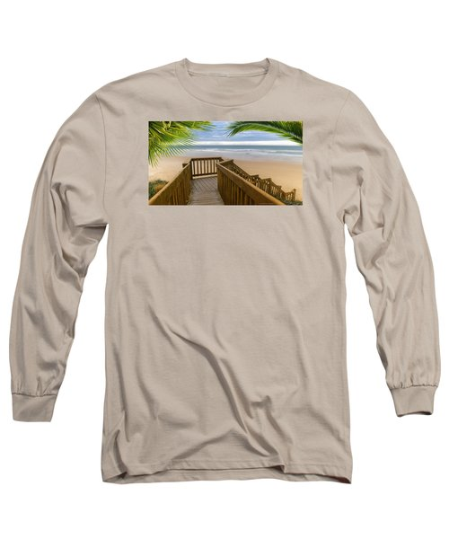 Long Sleeve T-Shirt featuring the photograph Beach Paradise 001 by Kevin Chippindall