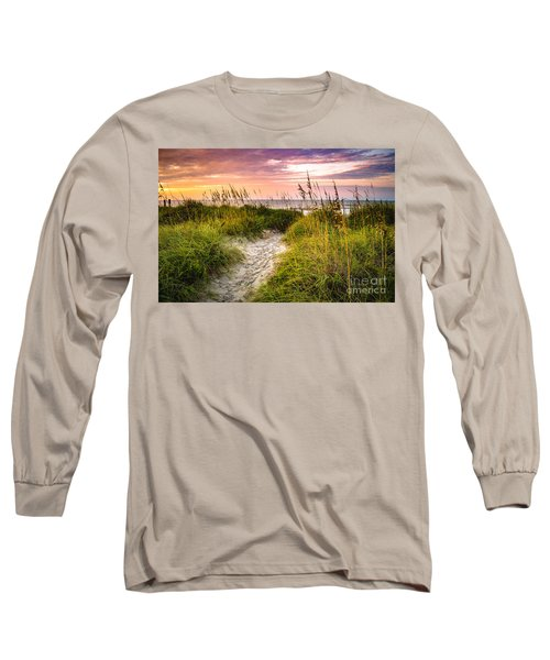Beach Path Sunrise Long Sleeve T-Shirt by David Smith