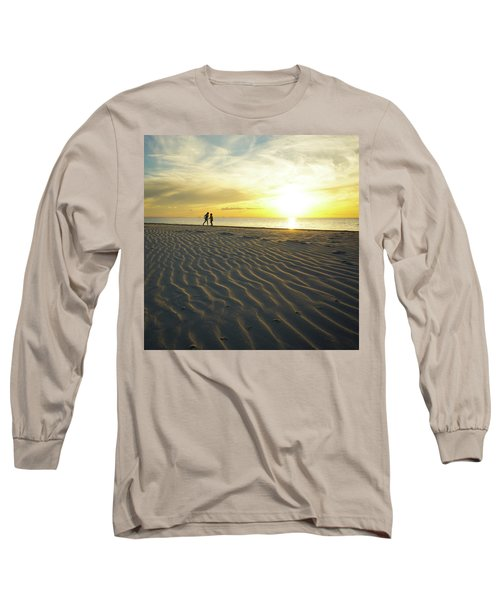 Beach Silhouettes And Sand Ripples At Sunset Long Sleeve T-Shirt