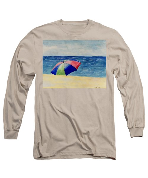 Long Sleeve T-Shirt featuring the painting Beach Umbrella by Jamie Frier
