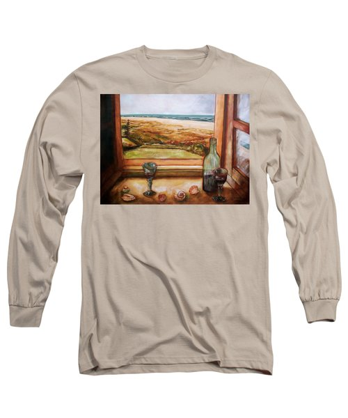Long Sleeve T-Shirt featuring the painting Beach Window by Winsome Gunning