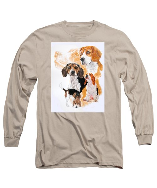 Beagle W/ghost Long Sleeve T-Shirt by Barbara Keith
