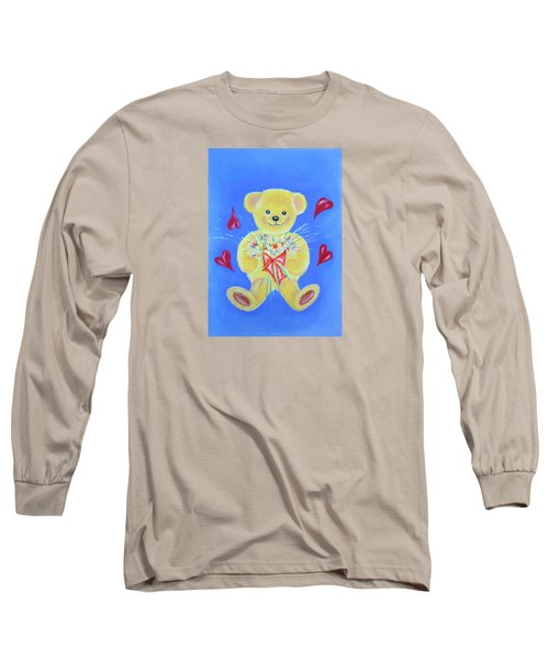 Bear With Flowers Long Sleeve T-Shirt by Elizabeth Lock