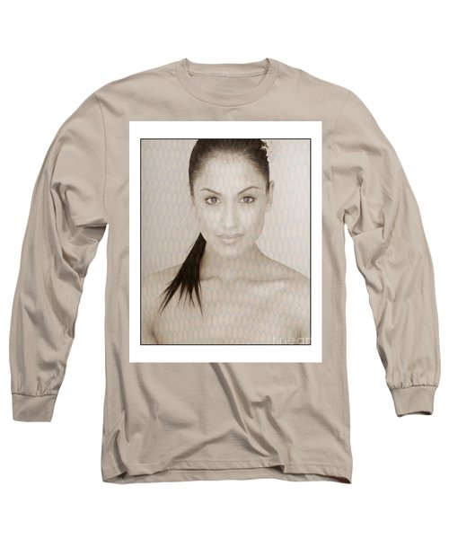Long Sleeve T-Shirt featuring the photograph Beautiful Brunette In Studio by Michael Edwards