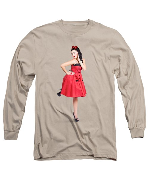 Beautiful Brunette Pinup Girl In Red Retro Dress Long Sleeve T-Shirt