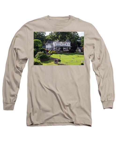 Long Sleeve T-Shirt featuring the photograph Beautiful Home On Lake Hopatcong by Maureen E Ritter