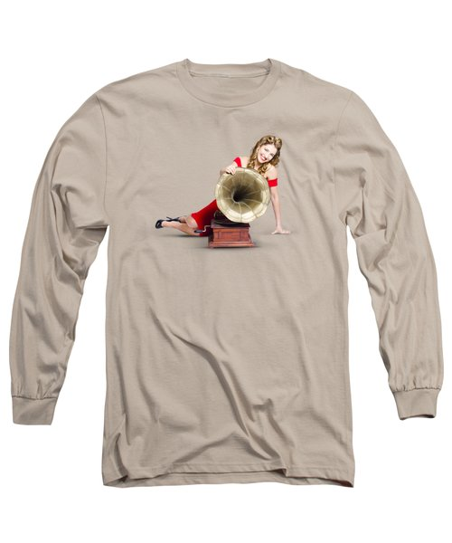 Long Sleeve T-Shirt featuring the photograph Beautiful Pinup Woman Listening To Old Gramophone by Jorgo Photography - Wall Art Gallery