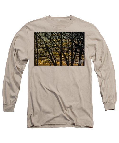 Beautiful Sunset Behind Bare Trees Long Sleeve T-Shirt