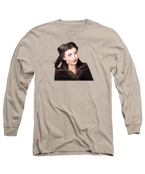 Long Sleeve T-Shirt featuring the photograph Beautiful Winter Woman Isolated On White by Jorgo Photography - Wall Art Gallery