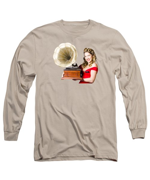 Beautiful Woman With Gramophone Isolated On White Long Sleeve T-Shirt
