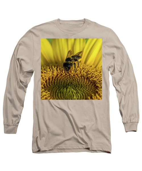 Long Sleeve T-Shirt featuring the photograph Bee In A Sunflower by Paul Freidlund