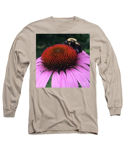 Bee On Flower By Saribelle Rodriguez Long Sleeve T-Shirt by Saribelle Rodriguez
