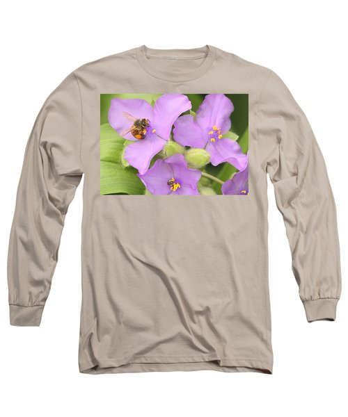 Long Sleeve T-Shirt featuring the photograph Bee On Purple Spiderwort by Sheila Brown
