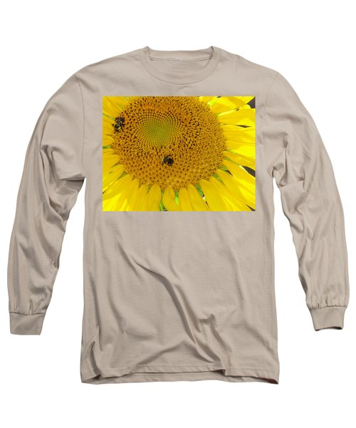 Long Sleeve T-Shirt featuring the photograph Bees Share A Sunflower by Sandi OReilly